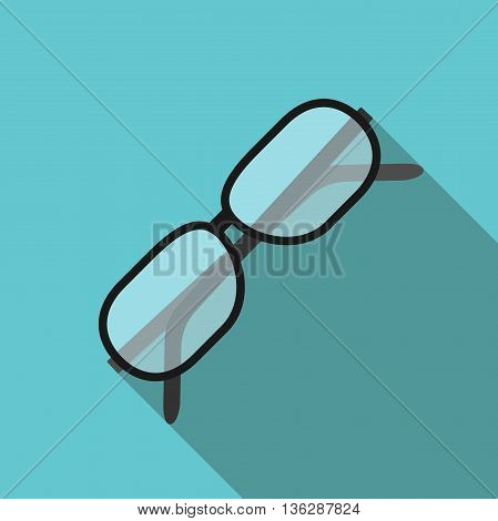 Beautiful glasses for eyes on blue background with long shadow. Flat style icon. Eyesight health work and knowledge concept. EPS 10 vector illustration transparency used