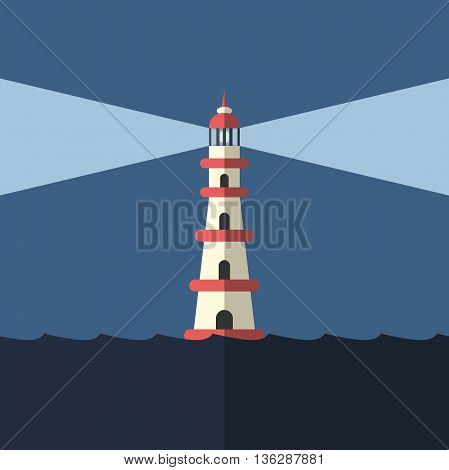 Lighthouse, Night And Sea