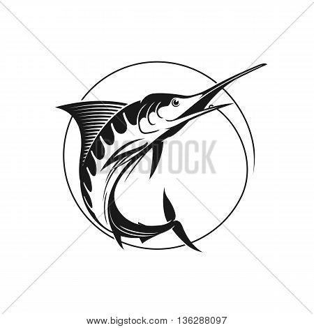 Blue marlin vector sign. Vector fishing logo. Catching marlin on the hook. Stock vector illustration in one color.