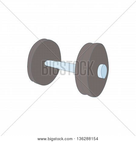 Dumbbell icon in cartoon style isolated on white background. Sport symbol