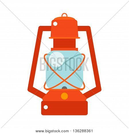 Red lantern. Vector isoleted illustration. Kerosene lantern for trekking travel comfort. Lamp Icon