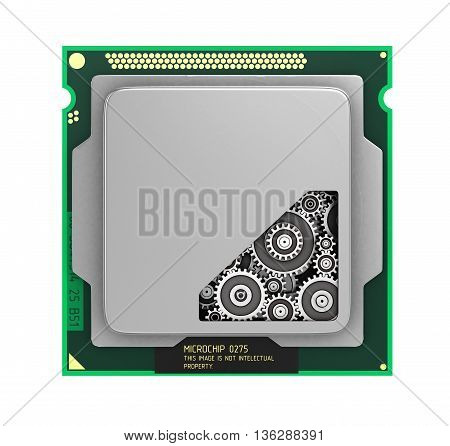 CPU. Gears inside processor isolated on a white background. 3d illustration