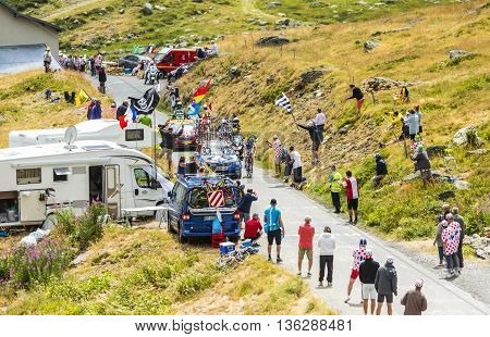 Col de la Croix de Fer, France - 25 July 2015:The French cyclist Alexandre Geniez of FDJ Team leading the race riding to the Col de la Croix de Fer in Alps during the stage 20 of Le Tour de France 2015.