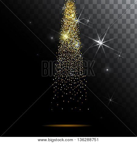 Abstract light background. Magic light with gold glitter burst. Vector EPS