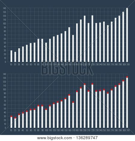 Graphs and charts set. Statistic and data, information infographic with cross lines background. Unique and Ready charts for your design