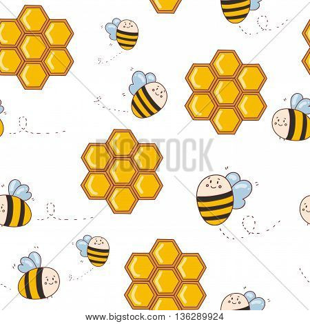 Vector pattern with cute bees honey bee honeycombs.