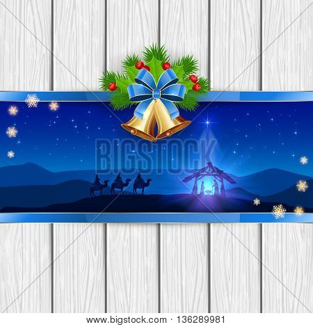 Christmas scene, the birth of Jesus with Christmas star, three wise men, golden bells, red bow, holly berries, stars and snowflakes, on white wooden background, illustration.