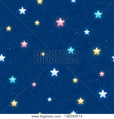 Seamless background with colorful shining stars on blue sky, illustration.