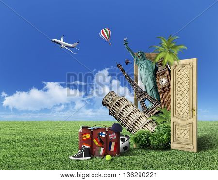 Concept of travel. Door with picture of world attractions on nature background. Next to the door is packed suitcase with tickets racket sneaker balls baseball cap purse and glasses. In the air flying aircraft and balloon. Concept of recreation.