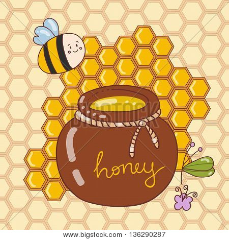 Vector illustration with cute bees honey flowers bee honeycombs a barrel of honey.