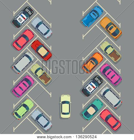 Parked cars on the parking top view, Vector urban transport concept.Auto parking and empty place for transport parking illustration