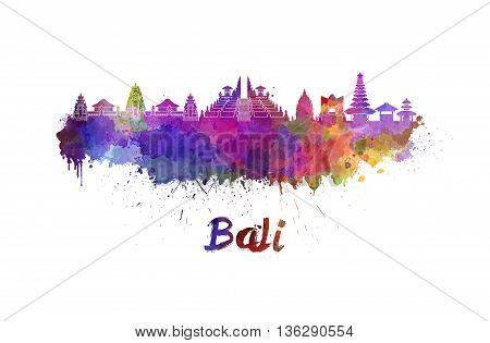 Bali skyline in watercolor splatters with clipping path