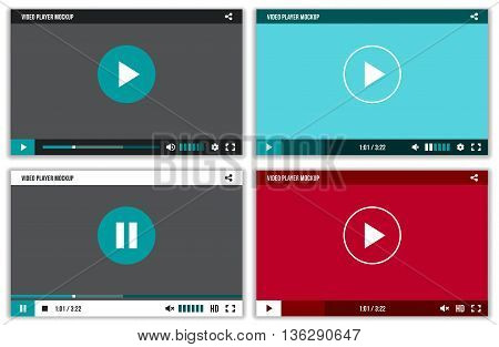 Video player interface for web and mobile apps. Vector mockup ui template. Screen media player for mobile app, illustration video player for music and movie