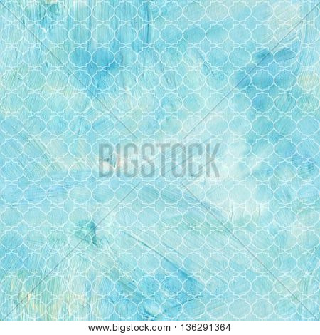 A seamless teal blue and white quatrefoil acrylic pattern with brush strokes; abstract background texture