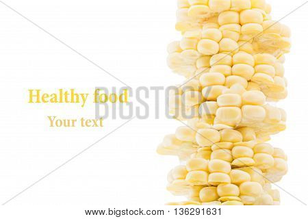 Pile of sliced corn cobs on a white background. Isolated. Decorative frame. Macro. Food background. Copy space. Concept art.