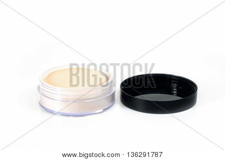 Makeup. Face Powder, Isolated On White Background