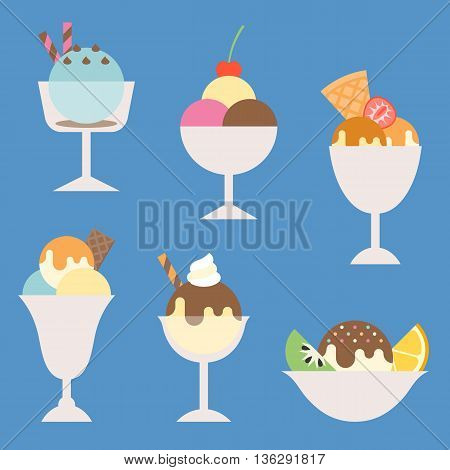 set of ice cream in glass and cup with topping illustration, such as sundae, parfait, flat icon vector