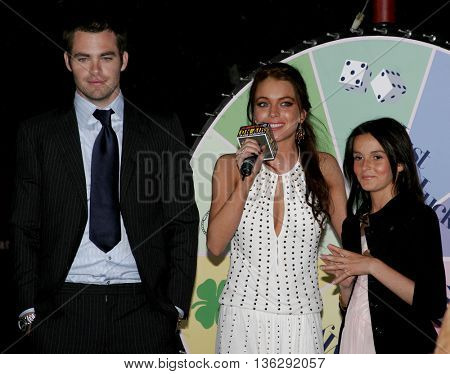 Chris Pine, Lindsay Lohan and Ali Lohan at the Los Angeles premiere of 'Just My Luck' held at the Mann National Theater in Westwood, USA on May 9, 2006.