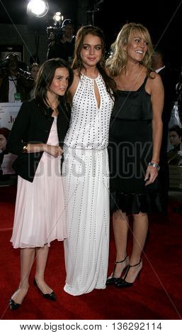 Dina Lohan, Lindsay Lohan and Ali Lohan at the Los Angeles premiere of 'Just My Luck' held at the Mann National Theater in Westwood, USA on May 9, 2006.