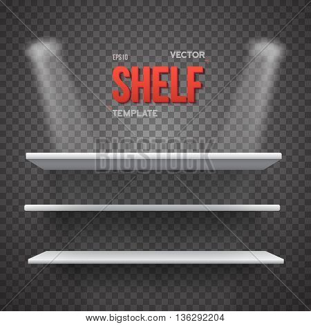 Illustration of Realistic Vector Shelf With Transparent Lights. EPS10 Empty Shelf for Store, Exhibitions, Shows. Vector Shelf on Wall. Realistic Shelf on Transparent Overlay Background