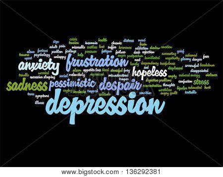 Vector concept conceptual depression or mental emotional disorder abstract word cloud isolated on background