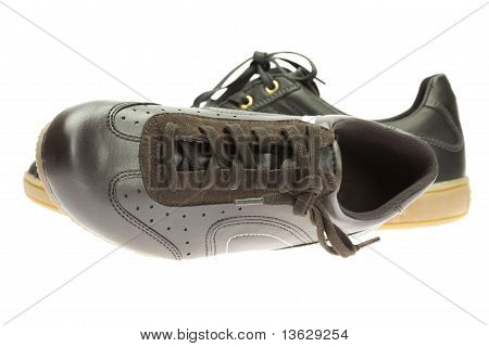 Brown Athletic Shoes Isolated On White