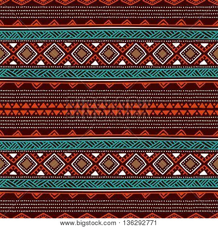 Seamless ethnic background. Striped wallpaper hand-drawn. Blue, orange and white elements on a brown backdrop. Vector illustration.