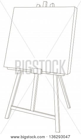 Vector illustration of wooden easel with canvas