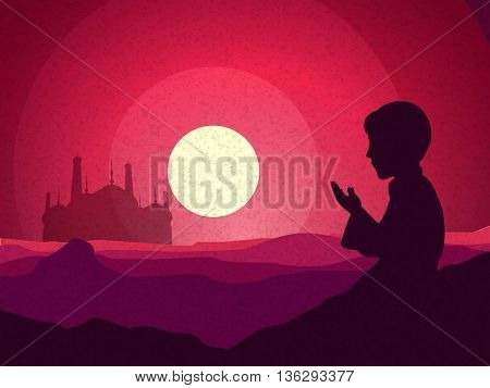 Religious Muslim Boy reading Namaz (Islamic Prayer) in front of a Mosque, Beautiful view of desert in full moonlight night, Creative illustration for Muslim Community Festival celebration.