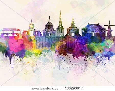 Leiden skyline in watercolor background artistic abstract