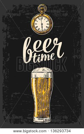 Beer glass and antique pocket watch. Hand drawn design element. Vintage vector engraving illustration for web poster invitation to beer party. Isolated on dark background.