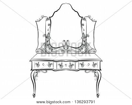 Baroque Royal luxury style furniture. Dressing table and mirror set with luxurious rich ornaments. Vector