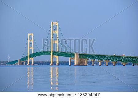 Mackinac suspension bridge at morning, built in 1957, Michigan, USA