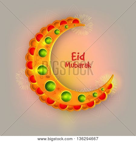 Creative Glossy Crescent Moon on fireworks background, Eid Mubarak Greeting Card design, Concept for Muslim Community Festivals celebration.