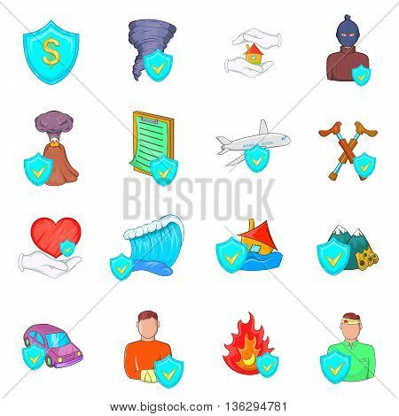 Insurance icons set in cartoon style isolated on white background