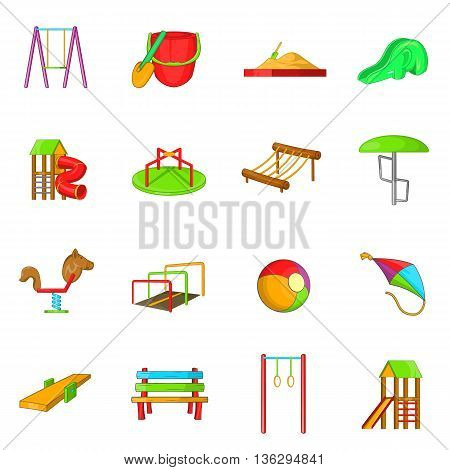 Playground icons set in cartoon style isolated on white background