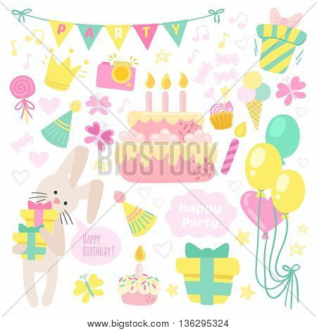 Birthday celebration attributes vector icons. Party background
