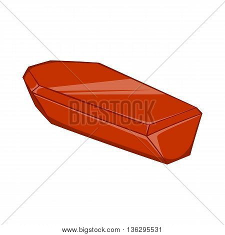 Coffin icon in cartoon style isolated on white background. Death symbol