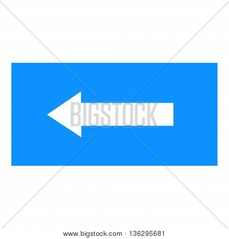 Arrow sign white icon in blue rectangle. Isolated on white background .Vector to left symbol marks. Arrow sign picture. Blue sticker vector illustration. Flat vector image. Vector illustration.