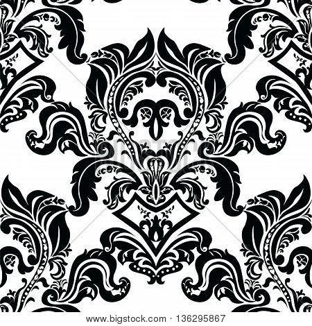 Vintage Classic Rococo Floral ornament damask pattern. Elegant luxury texture for backgrounds and invitation cards. Black color. Vector
