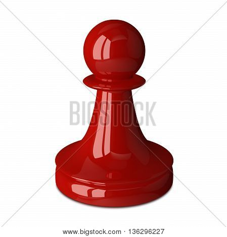 Shiny red chess pawn isolated on white. 3D rendering