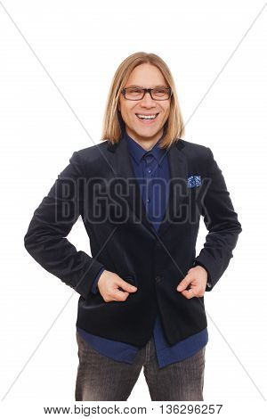 Long haired happy man isolated at white. Portrait of a confident smiling guy looking at camera. Boy style, trendy middle-aged person in glasses and blue suit. Modern businessman.