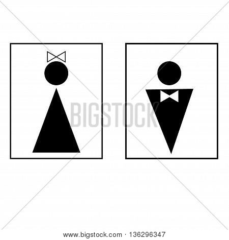 Man and woman sign in white rectangle. Isolated on white background. Man and woman symbol marks. Man and woman sign picture. White sticker vector illustration. Flat vector image. Vector illustration.