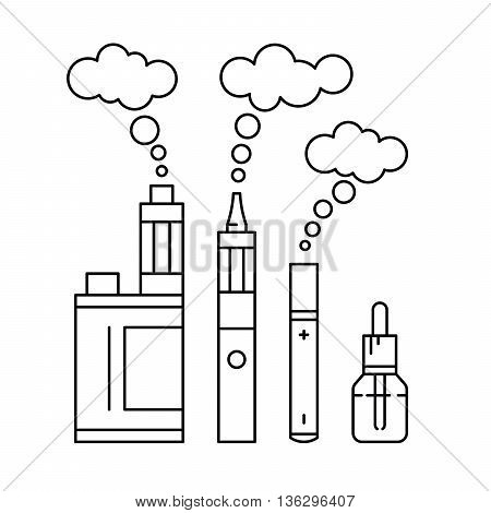 Vector illustration of electronic cigarette for vape shop and vape service e-cigarette store isolated outline.