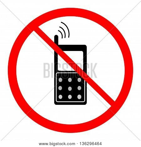 No telephone sign in red ring. Isolated on white background. No telephone symbol on white mark. No telephone ban sign picture. Red sticker vector illustration. Flat vector image. Vector illustration.