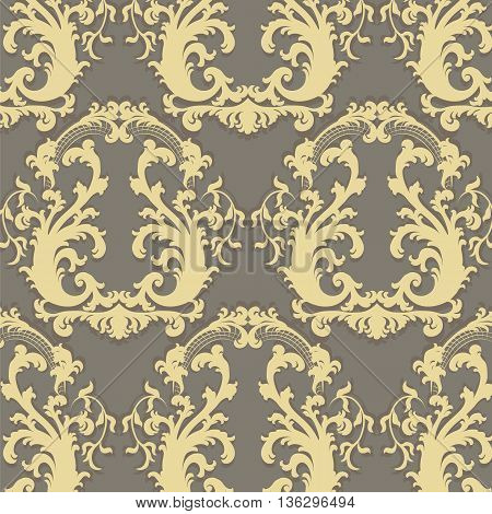 Vintage Vector Floral Baroque ornament damask pattern. Elegant luxury texture for texture fabric backgrounds and invitation cards.