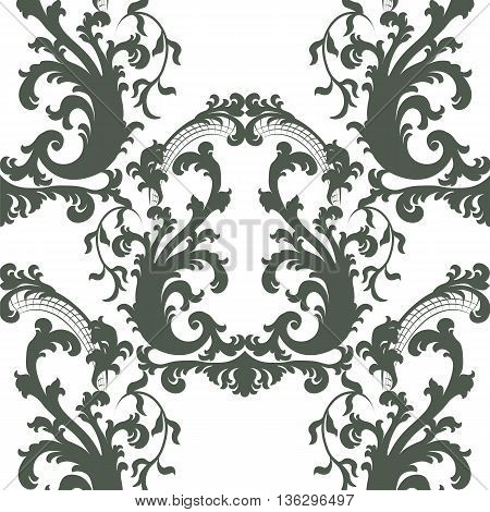 Vintage Vector Floral Baroque ornament damask pattern. Elegant luxury texture for texture fabric backgrounds and invitation cards. Green color