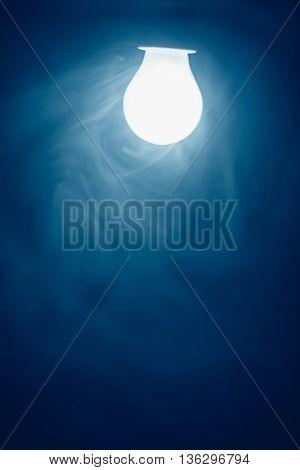 bulb lamp blue light in fog