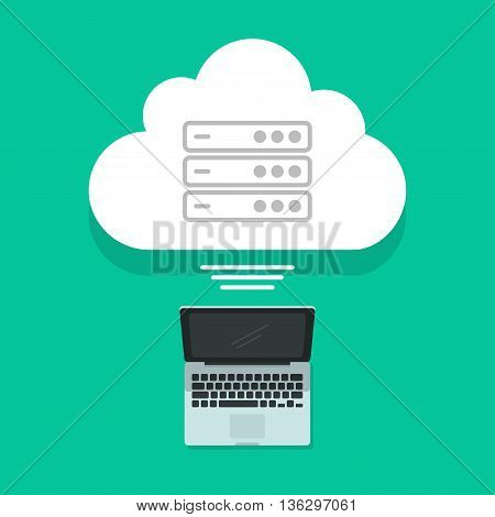Cloud computing concept vector illustration isolated, laptop connected with abstract cloud servers data, internet center technology, workstation modern tech, flat design