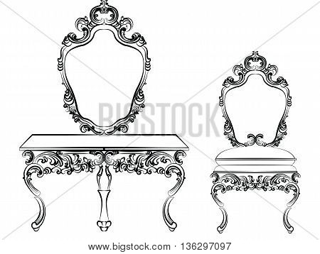 Baroque luxury style furniture. Dressing table with mirror and chair set with luxurious rich ornaments. Vector sketch